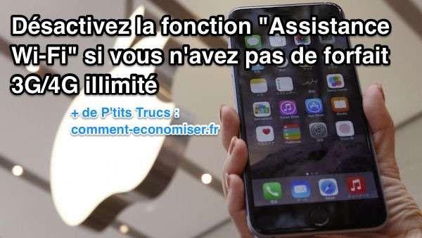 Une nouvelle fonctionnalité de iOS 9, appelée Assistance Wi-Fi, est peut-être en train de consommer votre forfait 3G/4G sans que vous le sachiez.  Découvrez l'astuce ici : http://www.comment-economiser.fr/desactivez-fonction-ios9-si-vous-n-avez-pas-forfait-illimite.html?utm_content=buffercf541&utm_medium=social&utm_source=pinterest.com&utm_campaign=buffer
