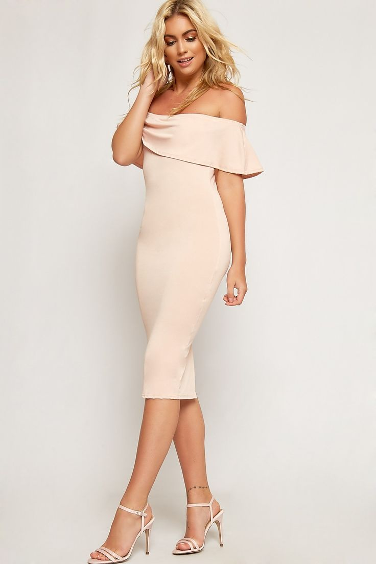 Sara Off Shoulder Crepe Frill Bodycon Dress | WearAll