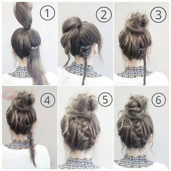 Lazy Day Hairstyle Step by Step Picture Tutorial #Shorthairbun #easyhairstylesforteens