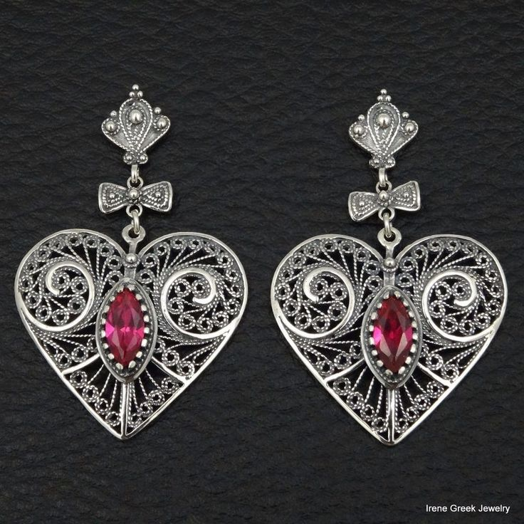 BIG RARE RINK RUBY CZ FILIGREE STYLE 925 STERLING SILVER GREEK HANDMADE EARRINGS #IreneGreekJewelry #DropDangle