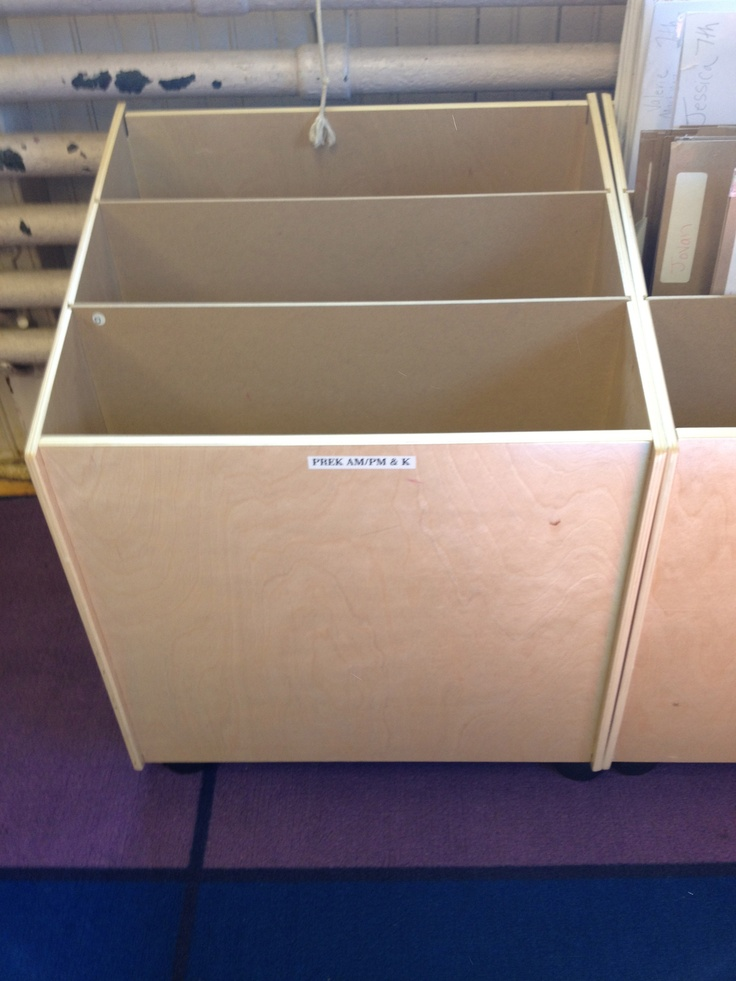 Big book storage carts that I use to house student portfolios.