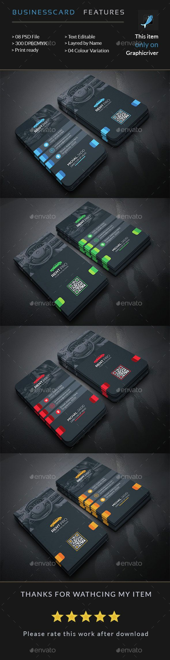 Rent a Car Business Card  -  PSD Template • Download ➝…