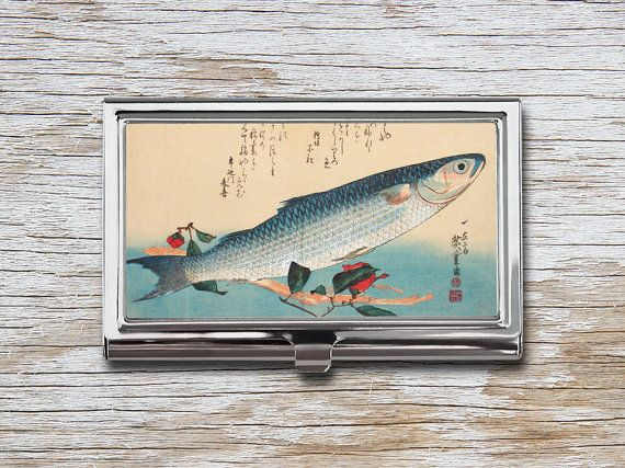 Japanese Fish Business Card Case - Vintage Japanese Print - Card Holder