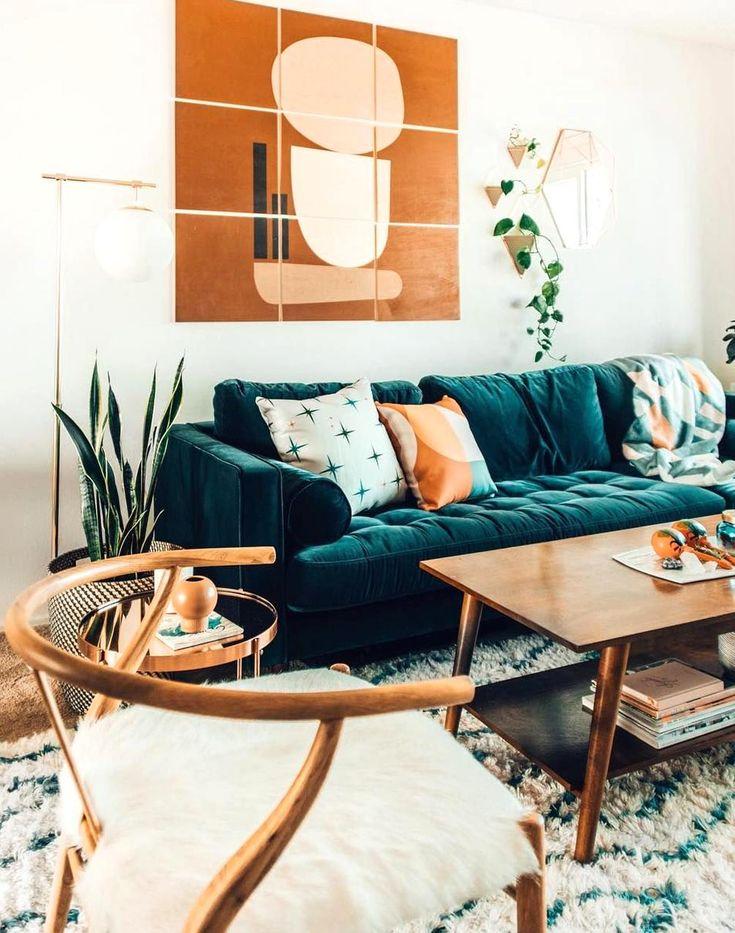 blue velvet sofas with creative living room decor ideas in