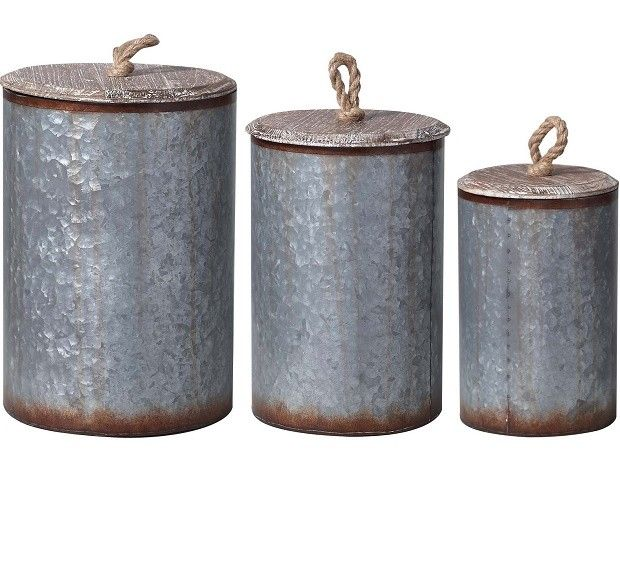 Round Metal Bin With Wood Lid | Metal Storage Container With Lid