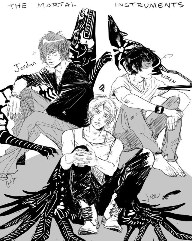 Jordan Kyle, Jace Lightwood, and Simon Lewis http://cassandrajp.tumblr.com   Art by Cassandra Jean
