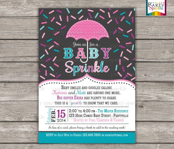 Baby Sprinkle - Pink and Teal - Personalized Baby Shower Invite - Digital Printable Invitation 4x6 or 5x7 jpg or pdf