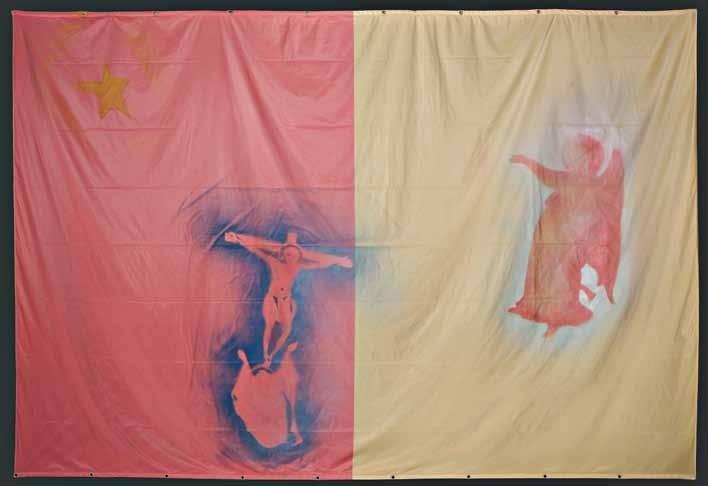 """Valentino Vago, """"L'annunciazione"""", tecnica mista su bandiera, cm 300x400, dal catalogo della mostra """"Novanta artisti per una bandiera"""", ©2013 corsiero editore"""