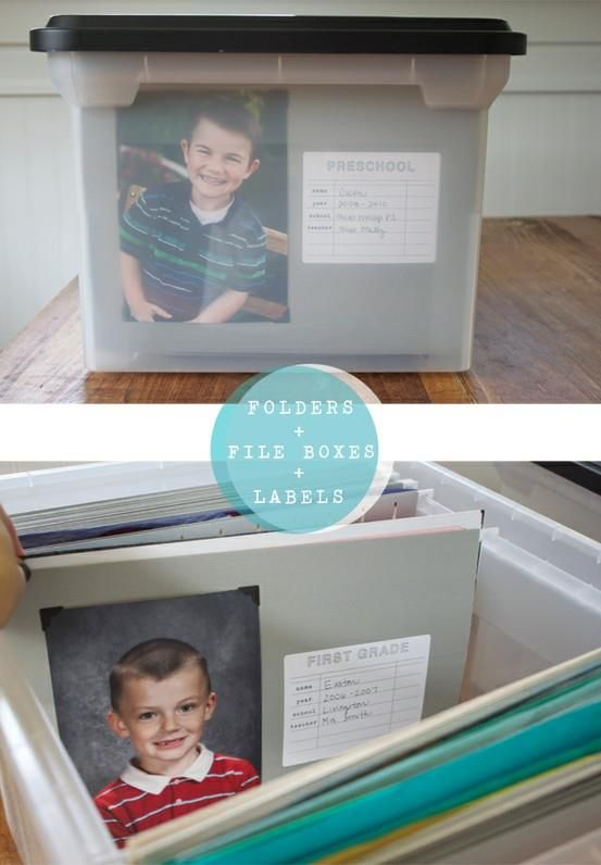 Use a plastic file box with hanging files, one per grade, to keep school pictures, awards, report cards, and an agreed upon amount of artwork and projects.