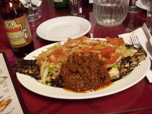 Grilled tilapia from Drelyse African Restaurant in Columbus - amazingly delicious!