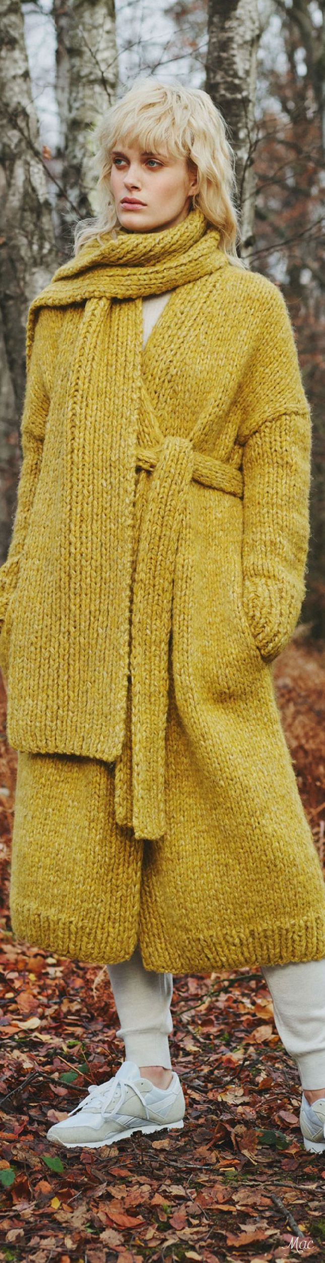 Yellow scarf and cardigan