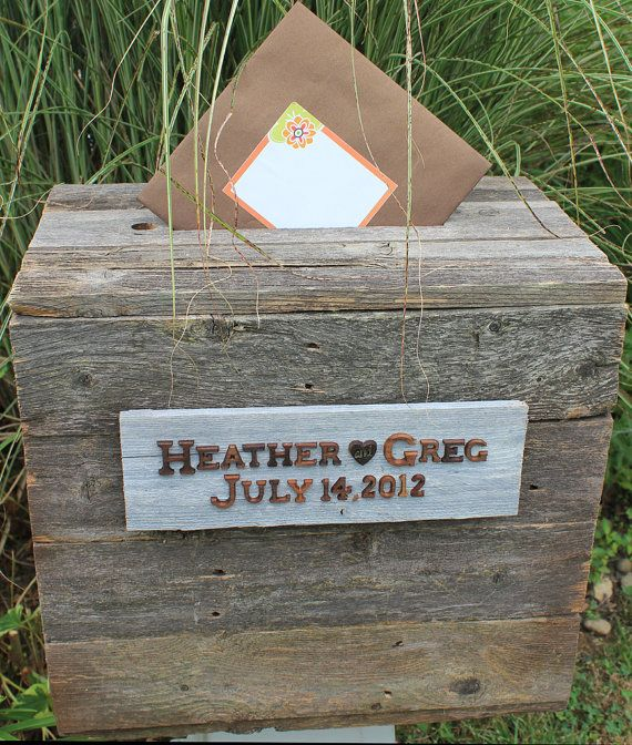 Rustic Wood Wedding Envelope Box by WhatstheOccasion on Etsy