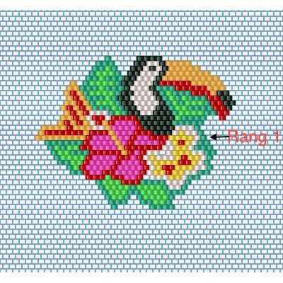 Schema Toucan Fleur Brick Stitch tissage de perles Miyuki