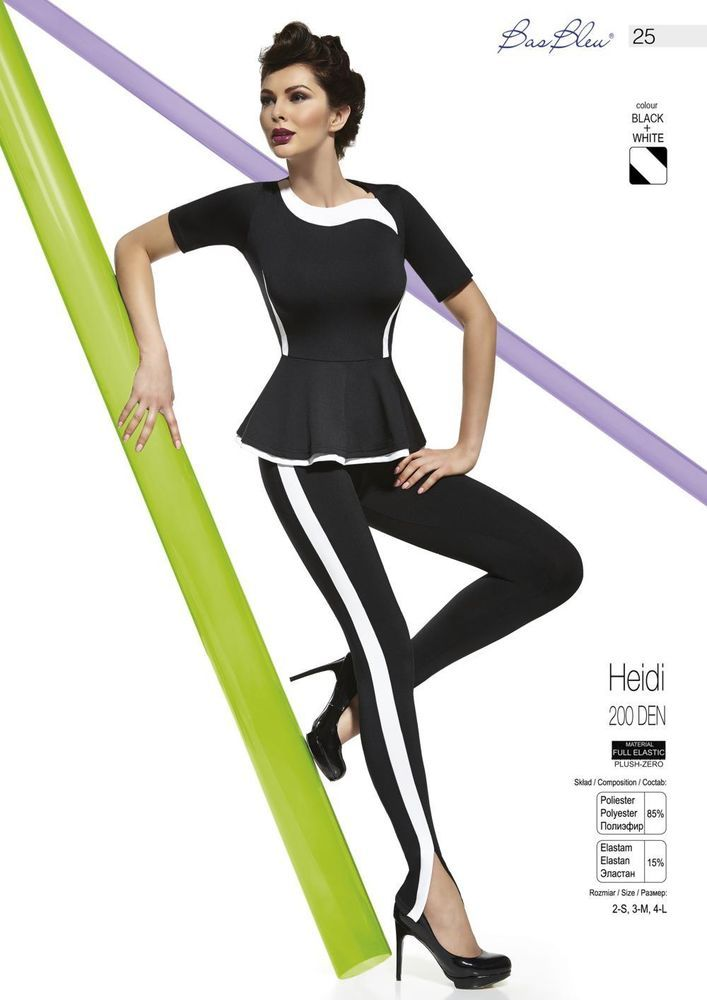 Leggings noir et blanc BAS BLEU Heidi 200 DEN tailles S M L