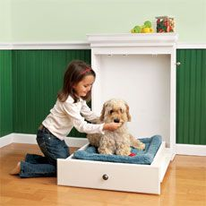 How to Build a Murphy Bed for Your Dog by thisoldhouse: Hid your dog's crash pad inside a built-in cabinet! #DIY #Dog_Bed #Murphy_Bed