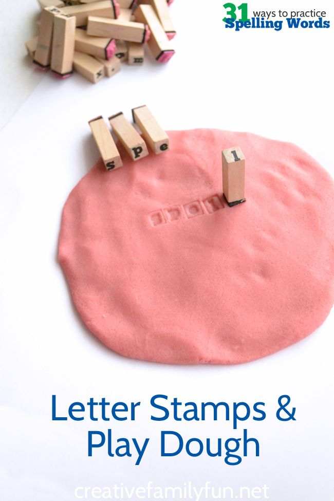 Practice your spelling words using play dough and letter stamps.