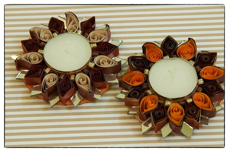 These water resistant quilled candle holders are great option They make good decorative item or you can just pick them for Diwali gifting.     These candle holders are available in either single pack or pack of two. Prices mentioned are for  a single candle holder