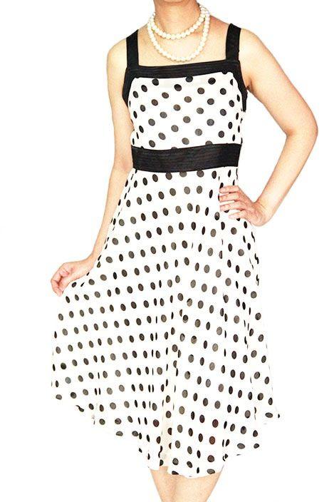 Black Polka Dot on Cream dress www.ladyseoulshop.com