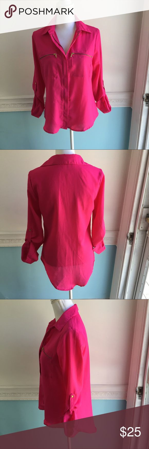 LIVE 4 TRUTH hot pink blouse with gold zippers This shirt is so cute and in great condition! Perfect accenting with the gold zippers. Zippers work. Live 4 Truth Tops Button Down Shirts