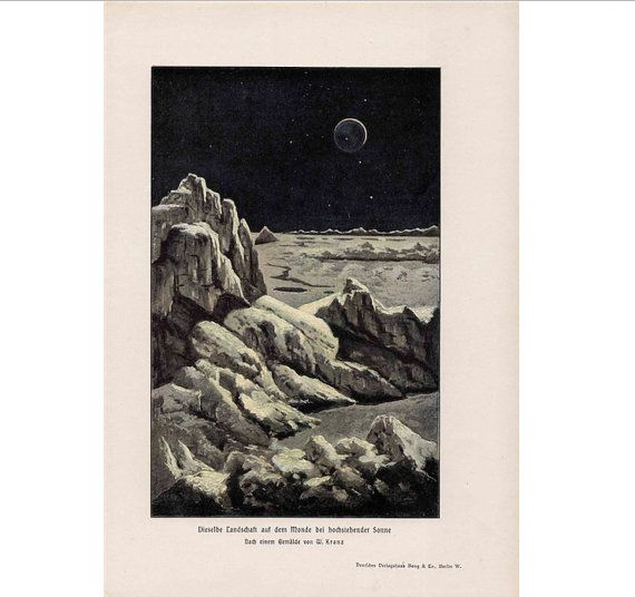 1900 VIEW of EARTH from MOON original antique celestial lunar