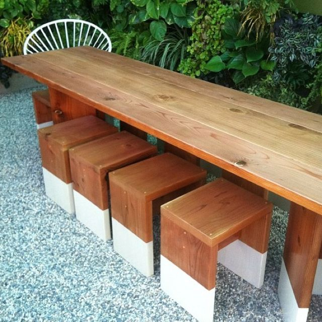 : Benches Ideas, 640 640 Pixel, Benches Stools Diy, Outdoor Tables, Outdoor Gardens, Blocks Benches, Benches Seats, Dips Furniture, Diy Outdoor Stools
