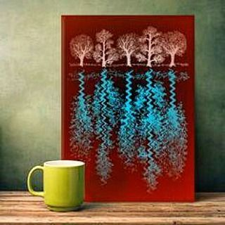 Morning coffee and a metal print called 'Trees' from my Displate webshop at https://displate.com/alanhogan/all .. #displate #metalprints #wall #art #paintings #instaart #artist #artistsofinstagram #nagohnala #hoganfinland #instalike #instalikes #konst #taide #peintre #arte #kunst #konstnär #artcollection #artcollectors #gallery #instaartist #trees #forest #nature #red #artofvisuals #artoninstagram #artoftheday