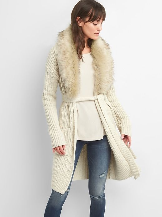 faux fur cardigan - wear all winter long...super chic and shows off a waistline!