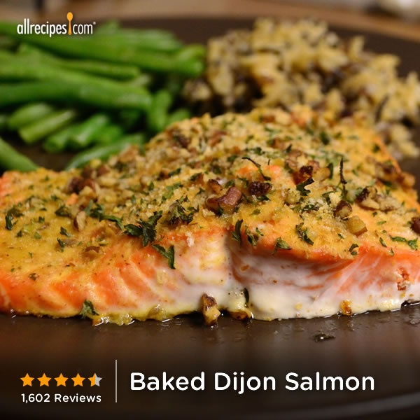 """""""This is probably the best salmon I've ever had...definitely the best I've ever made at home."""" —SALLYCAT   Repin for an easy dinner. (Baked Dijon Salmon)"""