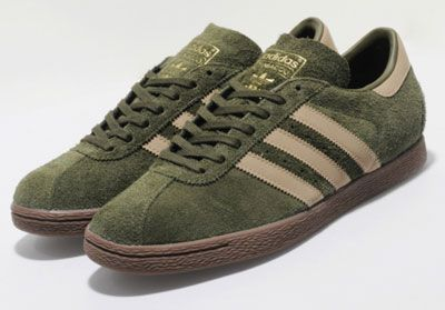 1970s Adidas Tobacco trainers in earth green suede