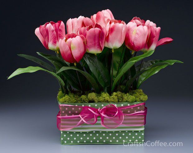 Pink tulips centerpiece craft ideas pinterest diy