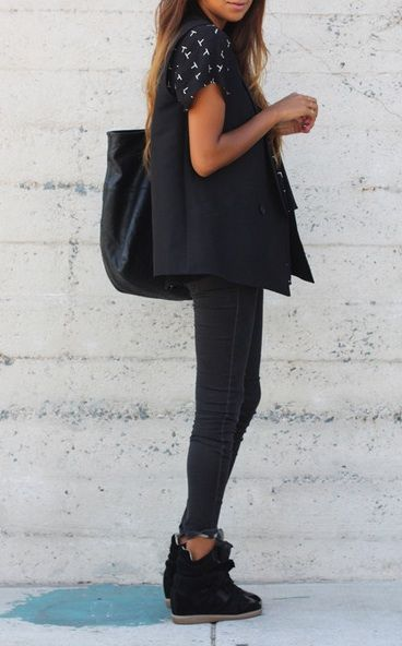 love this look. still deciding if i like isabel marant shoes or not...#isabelmarant #sneakers #boots #shoes #ukisabelmarant