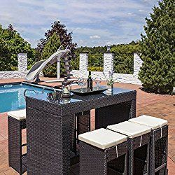 Sunnydaze Mombasa Wicker Rattan 7-Piece Outdoor Patio Bar Set with Beige Cushions