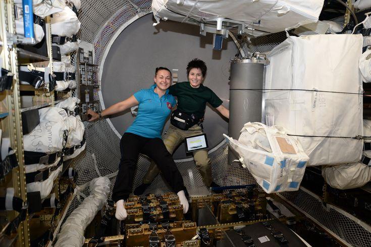 Cosmonaut  Elena Serova (left) and astronaut Samantha Cristoforetti, currently on board the International Space Station.