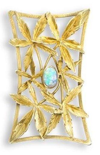 An Art Nouveau gold marijuana leaves and opal brooch, 1900s. #brooch #ArtNouveau