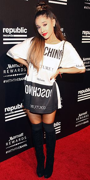Ariana Grande in a Moschino T-shirt dress after the VMAs