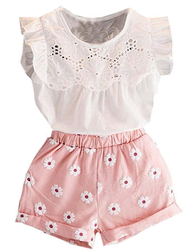 2017 Toddler Kids Baby Girls Clohes Chiffon Pearl Vest Shirt+Jean Shorts Outfits Clothes Set