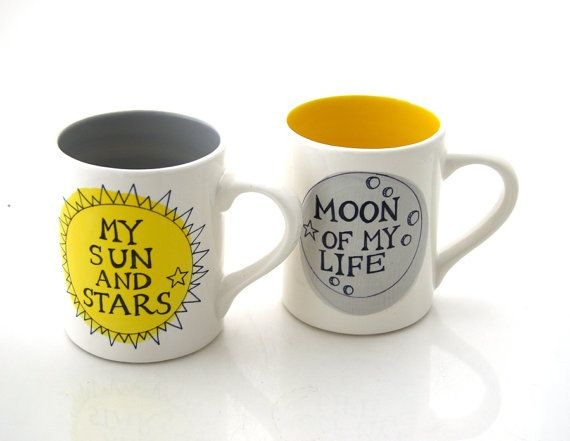 Game of Thrones Mug Set Moon of my Life, My Sun and Stars Set of two mugs couples mugs  Need a gift that will make a couple feel like royalty? This