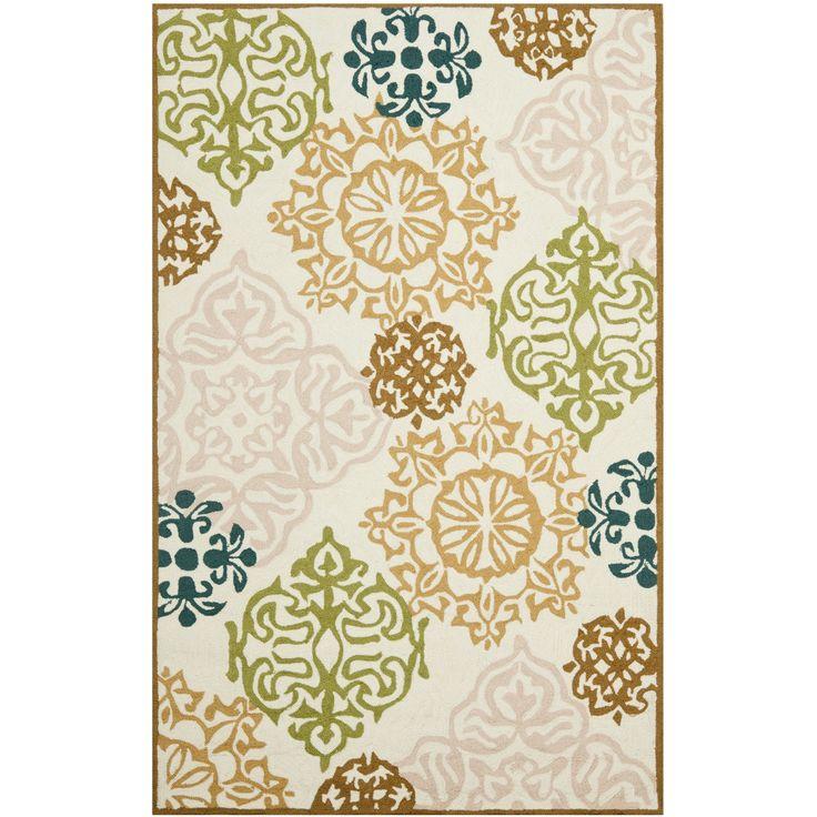 Safavieh Hand-Hooked Four Seasons Beige Damask Rug (8' x 10') (FRS407A-8), Size 8' x 10' (Polypropylene, Floral)