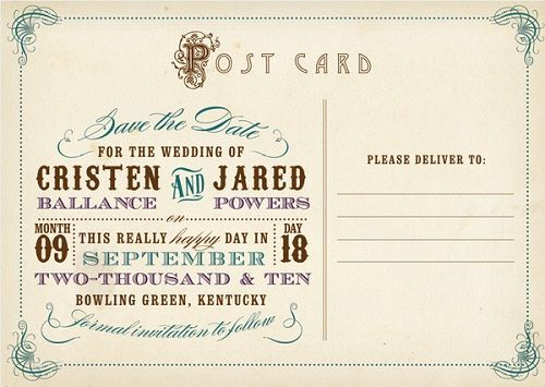 Vintage postcard template source for Vintage save the date templates free