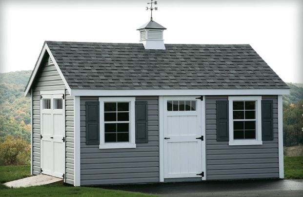 White House Wood Shutters Red Roof