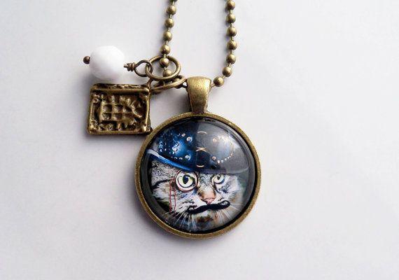 Steampunk Cat Necklace  Cat Pendant   Victorian Cat Jewelry
