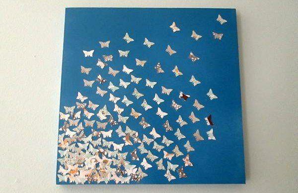 diy moderne Leinwandbilder blau schmetterlinge
