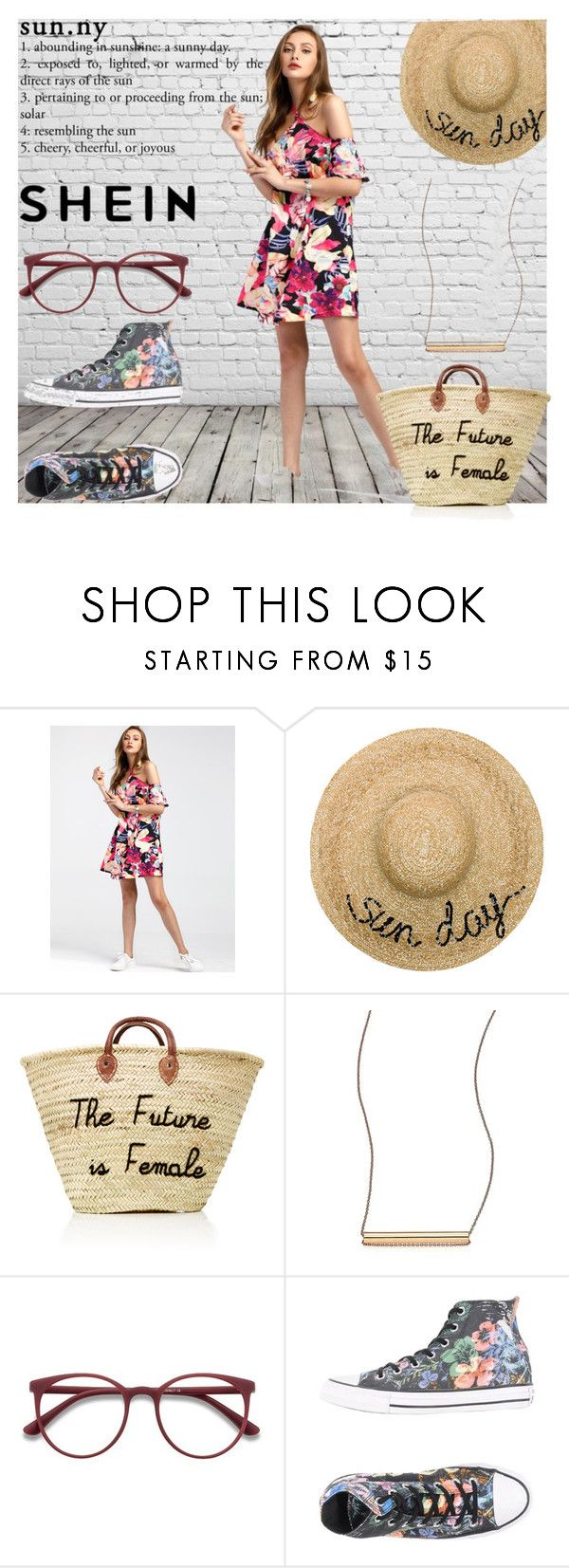 """""""Random-Florals-Tie-Detail-Dress"""" by tate-mafa ❤ liked on Polyvore featuring Eugenia Kim, Ginette NY, EyeBuyDirect.com and Converse"""