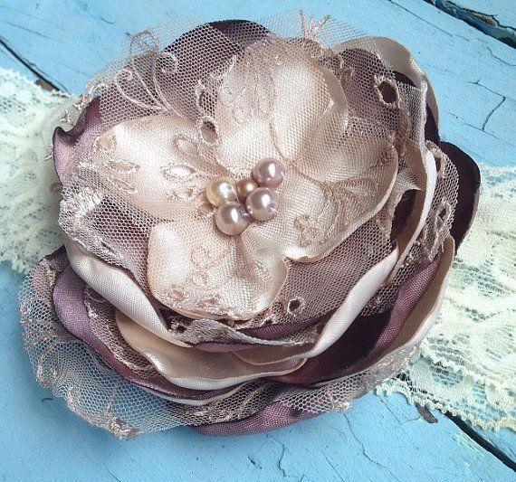 Brown & Cream Satin Tulle Fabric Flower Lace Headband, Vintage Baby Girls Flower Hair Bow, Brown Wedding, Bridal Garter, Cream Hair Flower