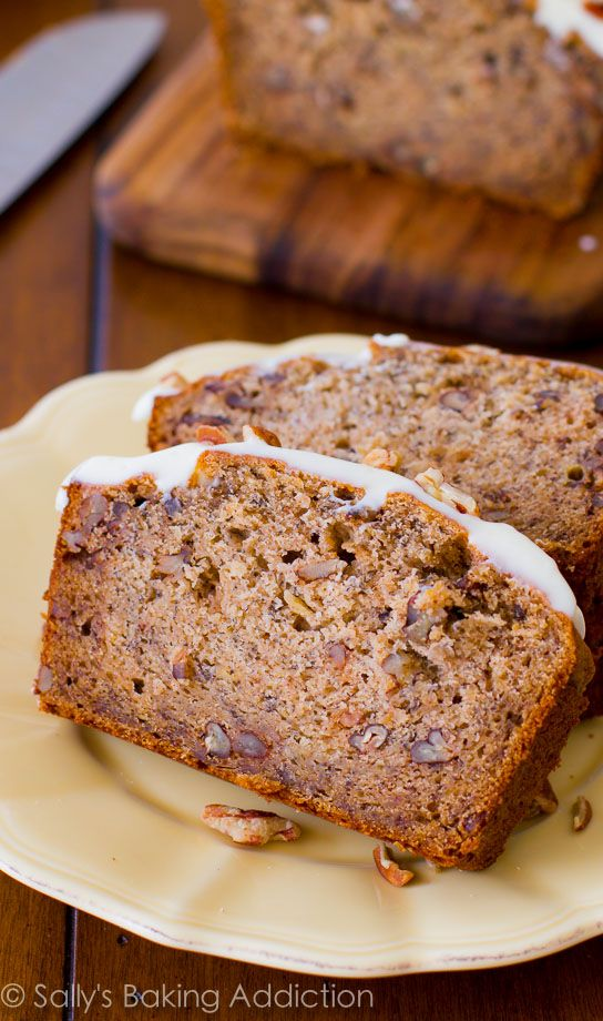 4 whole bananas, brown sugar, extra egg, and yogurt makes this banana bread super-moist and soft!