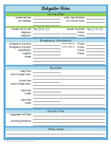 31 Days of Home Management Binder Printables: Day #21 Babysitter Notes