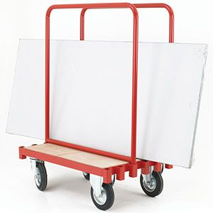 Ever struggled to carry a large sheet of plasterboard or wood, it's too big to fit under your arm,carry it in front of you and you can't see where you are going. These troubles are firmly in the past with this practical sheet carrying truck,the steel bars are movable making it versatile for varying sizes and thicknesses of loads. https://www.esedirect.co.uk/p-4776-sheet-carrying-truck-with-2-movable-steel-supports.aspx
