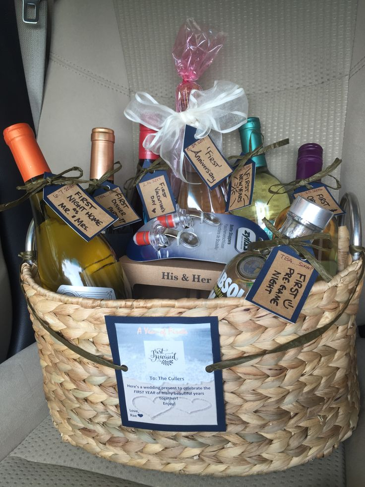 A year of firsts! The BEST and easiest wedding present for couples or even a housewarming gift! Wine basket made easy