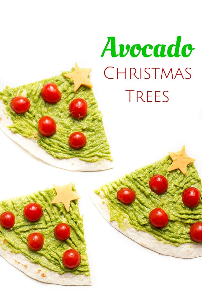 Avocado Christmas Trees - a healthy Christmas snack for kids. An easy and fun 5 min lunch