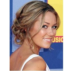 lauren conrad wavy pinned updo bridal hairstyle with wispy tendrils